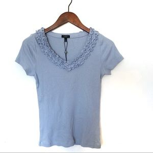 Talbots Tops - Talbots Ruffled V Neck T Shirt Ribbed Cap Sleeves